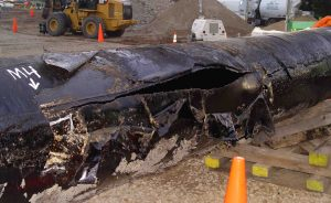 Ruptured Section of Enbridge Pipeline 6B Recovered from Calhoun County, MI. NTSB Image