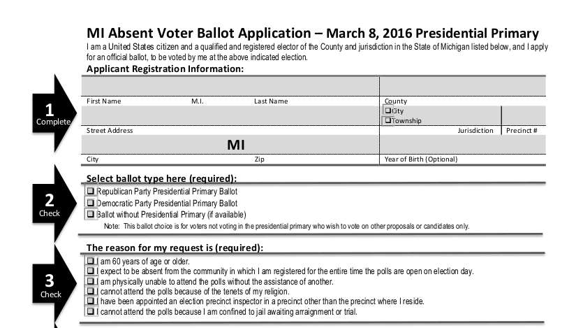 Absent Voter Ballot Application Header